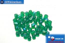 Czech fire polished beads emerald AB matte (MX50730) 4mm, 50pc