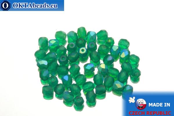 Český korálky ohňovky smaragd AB matný (MX50730) 4mm, 50ks