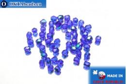 Czech fire polished beads cobalt AB (X30080) 3mm, 50pc