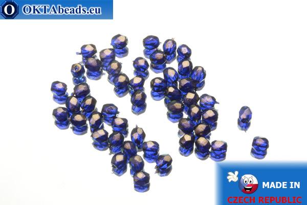 Český korálky ohňovky kobalt zlatý lesk (69264CR) 3mm, 50ks