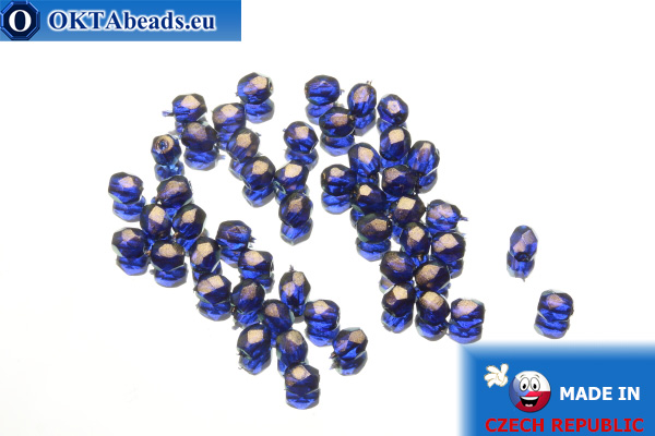 Czech fire polished beads cobalt gold luster (69264CR) 3mm, 50pc