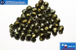 Czech fire polished beads brown iris (21415JT) 2mm, 50pc FP364