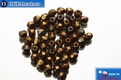 Czech fire polished beads brown iris gold luster (LH93200) 2mm, 50pc FP363