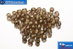 Czech fire polished beads brown gold luster (LG00030) 2mm, 50pc FP336