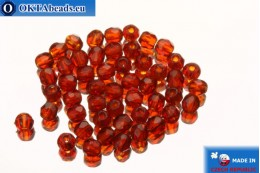 Czech fire polished beads red (90080) 2mm, 50pc FP368