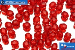 Czech fire polished beads red (90080) 4mm, 50pc