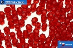Czech fire polished beads red (90080) 3mm, 50pc