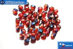 Czech fire polished beads red iris (BR90080) 4mm, 50pc