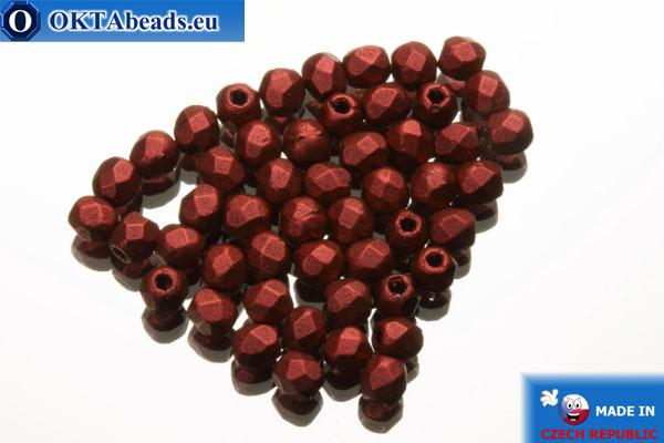 Czech fire polished beads red metallic matte (K0189JT) 2mm, 50pc FP339