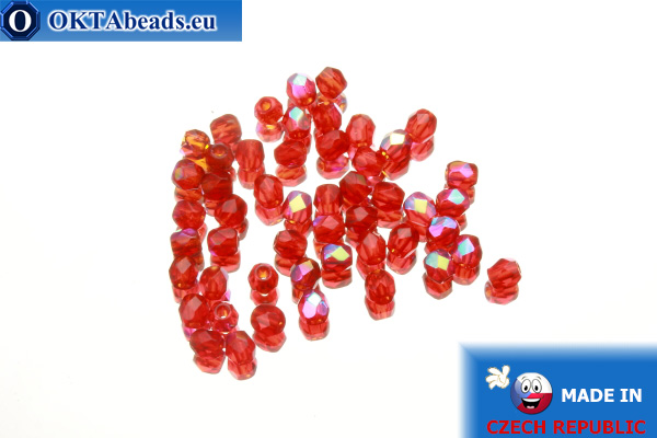 Czech fire polished beads red AB (X90080) 3mm, 50pc