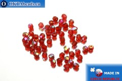 Czech fire polished beads red AB (X90090) 3mm, 50pc