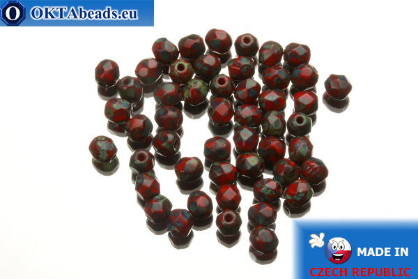 Český korálky ohňovky červený travertin (T93200) 4mm, 50ks