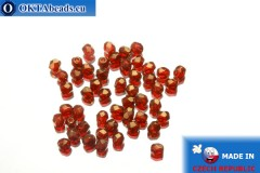 Czech fire polished beads red gold luster (LZ90080) 3mm, 50pc