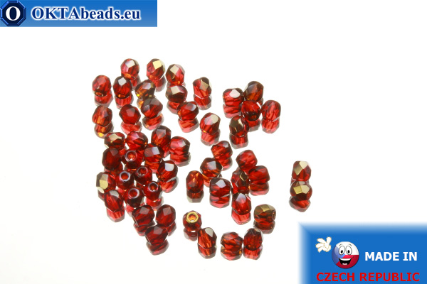 Czech fire polished beads red gold luster (ZR90080) 3mm, 50pc
