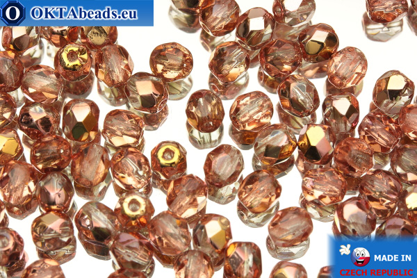 Czech fire polished beads crystal copper (C00030) 4mm, 50pc
