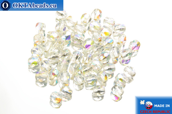 Czech fire polished beads crystal AB (SLX00030) 4mm, 50pc