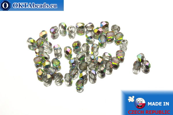 Czech fire polished beads crystal AB (VG00030) 3mm, 50pc