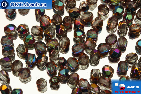 Czech fire polished beads crystal AB (VX00030) 3mm, 50pc