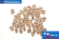 Czech fire polished beads crystal copper line (CL00030) 4mm, 50pc
