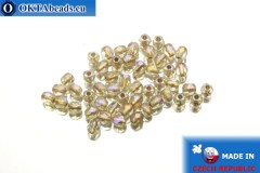 Czech fire polished beads crystal copper line AB (XCL00030) 3mm, 50pc