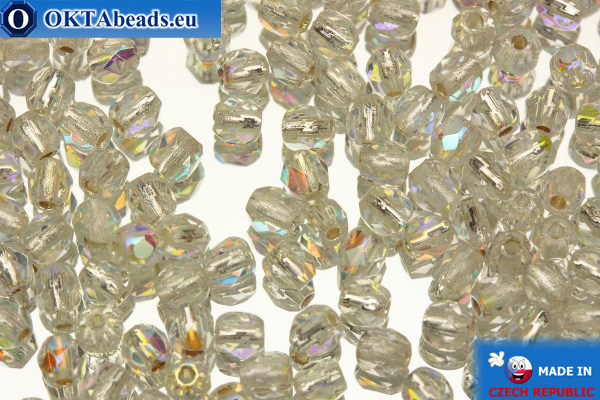 Czech fire polished beads crystal silver line AB (SLX00030) 3mm, 50pc