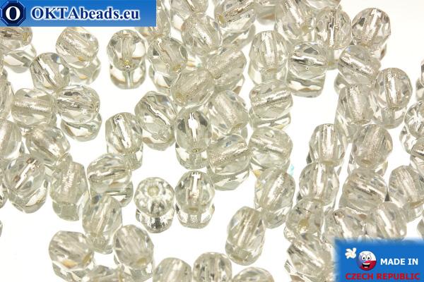 Czech fire polished beads crystal silver line (SL00030) 4mm, 50pc