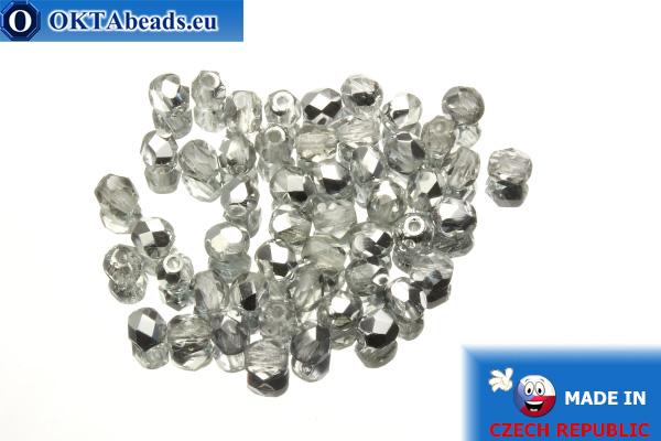 Český korálky ohňovky čirý stříbro (S00030) 4mm, 50ks