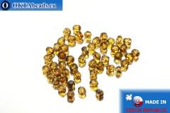Český korálky ohňovky čirý travertin (T00030) 3mm, 50ks