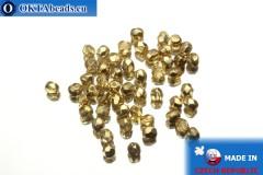 Český korálky ohňovky čirý zlato (97487CR) 3mm, 50ks