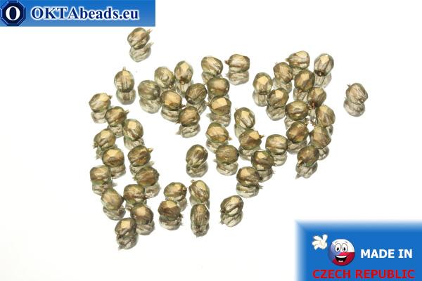 Český korálky ohňovky čirý zlatý lesk (69270CR) 3mm, 50ks