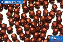 Czech fire polished beads copper matte (K0175) 4mm, 50pc