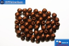 Czech fire polished beads copper matte (K0175JT) 2mm, 50pc FP335