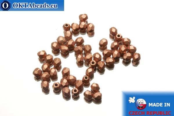 Český korálky ohňovky měď matný (K0177JT) 3mm, 50ks