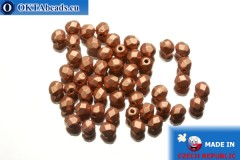 Czech fire polished beads copper matte (K0177JT) 4mm, 50pc