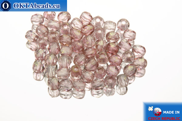 Czech fire polished beads pink (LP00030) 2mm, 50pc FP333