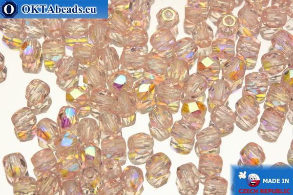 Czech fire polished beads pink AB (X70100) 3mm, 50pc
