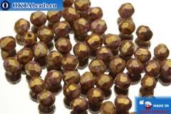 Český korálky ohňovky růžový travertin zlatý lesk (03000/15696) 4mm, 50ks
