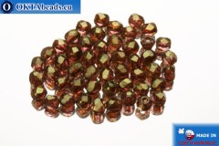 Czech fire polished beads pink gold luster (AK00030) 2mm, 50pc