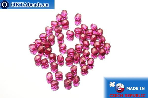 Český korálky ohňovky růžový zlatý lesk (69260CR) 3mm, 50ks