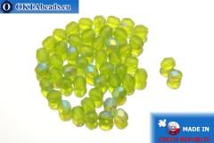 Czech fire polished beads chartreuse AB matte (MX50230) 4mm, 50pc