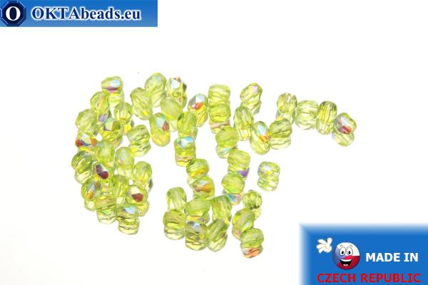 Czech fire polished beads chartreuse AB (X50210) 3mm, 50pc