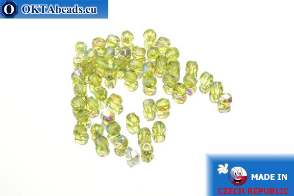 Czech fire polished beads chartreuse AB (X50230) 3mm, 50pc