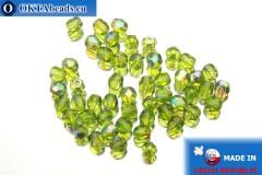Czech fire polished beads chartreuse AB (X50240) 4mm, 50pc