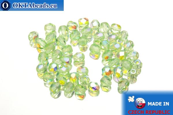 Czech fire polished beads chartreuse AB (X50500) 4mm, 50pc