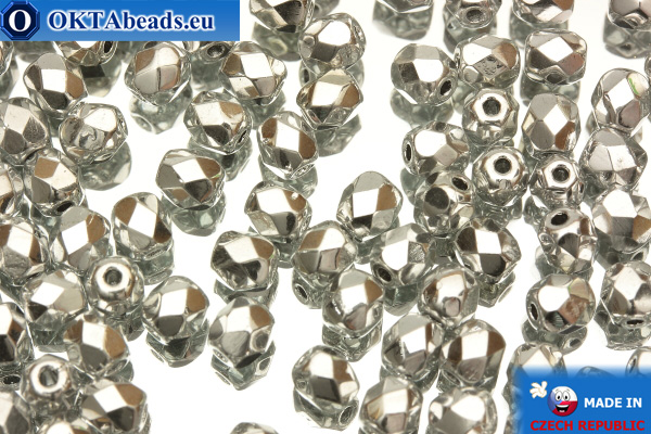 Czech fire polished beads silver (27000CR) 4mm, 50pc