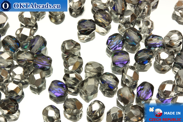 Czech fire polished beads silver lilac (H29536) 4mm, 50pc