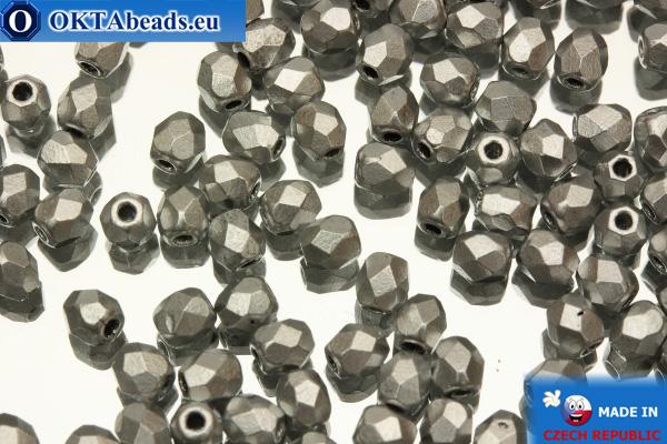 Český korálky ohňovky stříbro matný (K0170JT) 3mm, 50ks