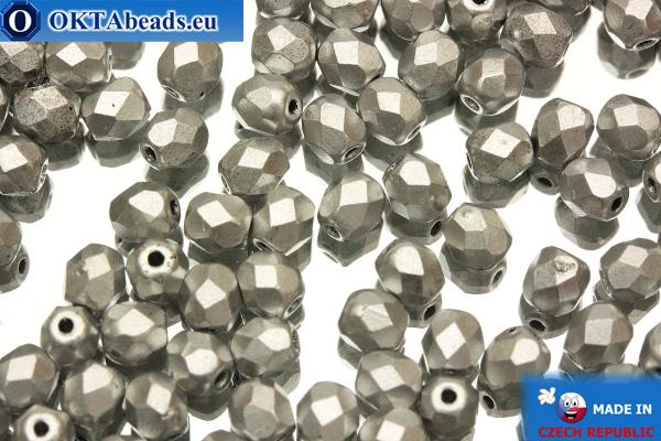 Český korálky ohňovky stříbro matný (K0170JT) 4mm, 50ks