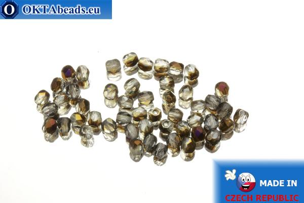 Czech fire polished beads grey bronze (PR00030) 3mm, 50pc