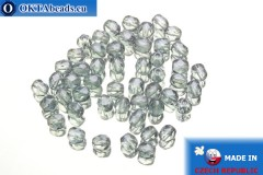 Czech fire polished beads grey luster (LB00030) 4mm, 50pc
